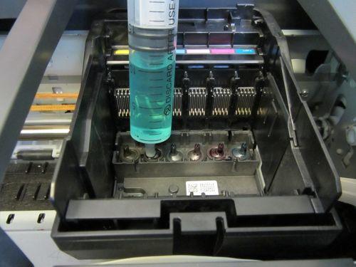 Прокапывание дюз печатающей головки